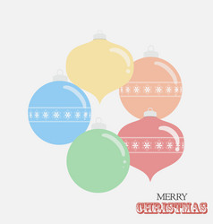 christmas drawing style baubles and text on white vector image
