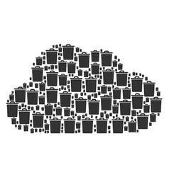 cloud mosaic of trash bin icons vector image