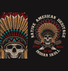 Colour with a indian skull vector
