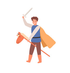 cute knight boy in cloak holding sword on horse vector image
