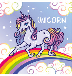 Cute unicorn stars rainbow greeting card vector