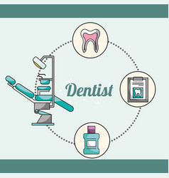 Dentist equipment chair mouthwash medical report vector