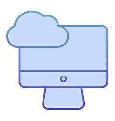 desktop cloud computing flat icon synchronize vector image