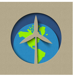 Earth day wind mill green energy paper cut design vector