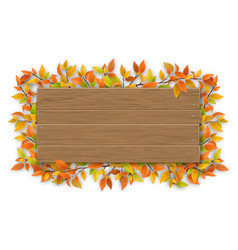 empty wooden sign with color autumn tree branch vector image
