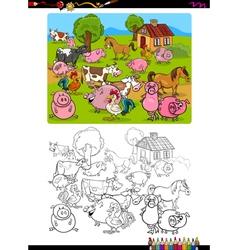 farm animals coloring page vector image
