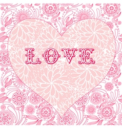 Floral ornate heart background vector image vector image