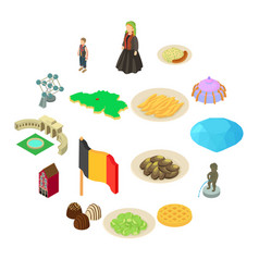 Germany travel icons set isometric style vector