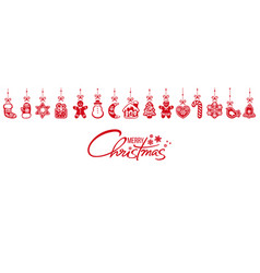 gingerbread cookies hanging on red ribbons vector image