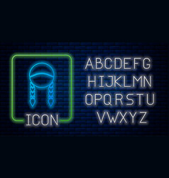 Glowing neon braid icon isolated on brick wall vector