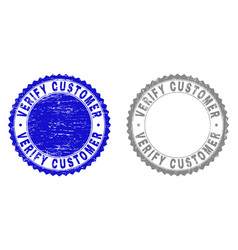 Grunge verify customer scratched stamps vector