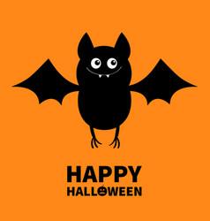 happy halloween cut bat flying animal cartoon vector image