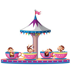 Happy monkeys riding cups in circus vector