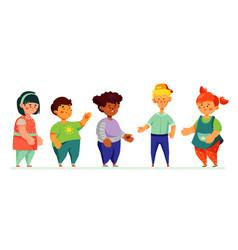 happy preschool children - colorful set of vector image