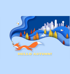 Horizontal banner hello autumn with fox running vector