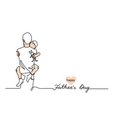 Hugs a father with a child one continuous line vector
