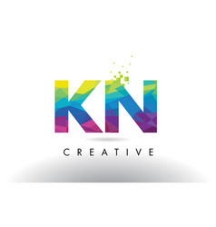 kn k n colorful letter origami triangles design vector image