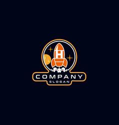 Letter h rocket logo design vector