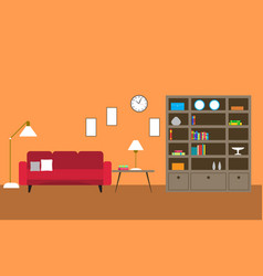 Library room with sofa vector