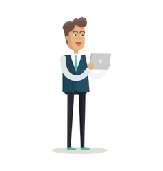 Man with Tablet in Flat Design vector image