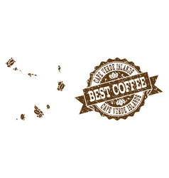 Mosaic map of cape verde islands with coffee beans vector