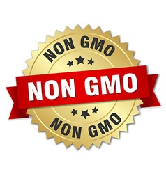 Non gmo 3d gold badge with red ribbon vector