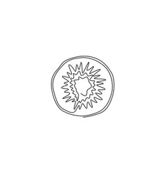 one continuous line drawing half sliced healthy vector image