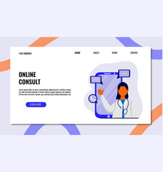 Online health consultation flat concept of vector