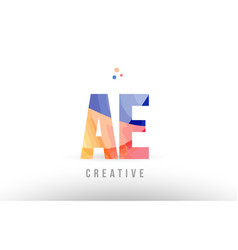 Orange blue alphabet letter ae a e logo icon vector