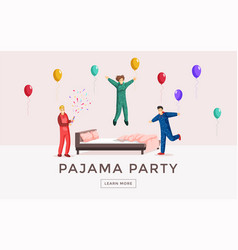 Pajama party web banner template overnight vector