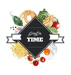 Pasta wreath design with conchiglie tomato egg vector