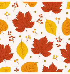 Pattern with maple linden leaves and some berries vector