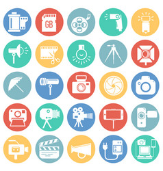 Photography and videography icon set on color vector