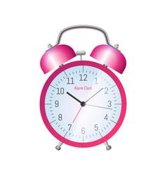 Pink classic alarm clock vector