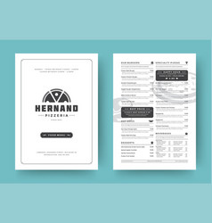 pizza restaurant menu layout design brochure or vector image