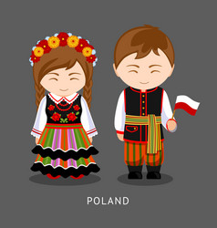 poles in national dress with a flag vector image