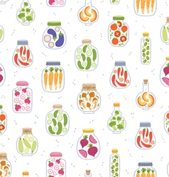 Preserved vegetables in jars seamless pattern vector image