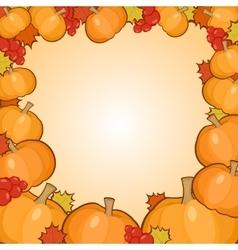 Pumpkins frame background autumn border vector
