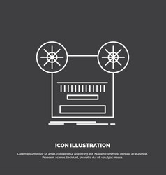 record recording retro tape music icon line vector image