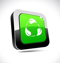 Recycle 3d square button vector