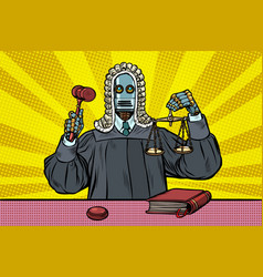 Robot judge in robes and wig vector