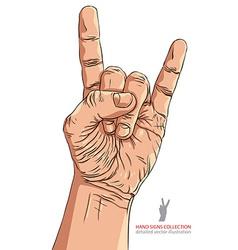 Rock on hand sign rock n roll hard rock heavy vector image