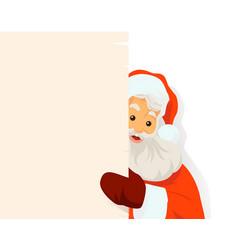 Santa claus holding blank sign vector