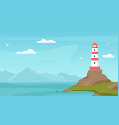 Sea landscape with beacon lighthouse tower vector