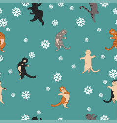 seamless pattern with jumping cats and snowflakes vector image