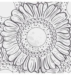 seamless texture stylized sunflowersblack contour vector image