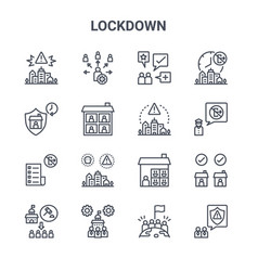 Set 16 lockdown concept line icons 64x64 thin vector