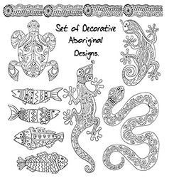 Set of aboriginal animals vector image