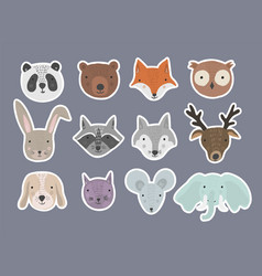 set of cute cartoon hand drawn animals stickers vector image