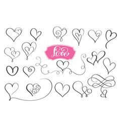 Set of hand drawn sketchy calligraphy hearts vector